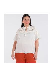 Bata Com Bordados E Amarração Curve & Plus Size | Ashua Curve E Plus Size | Branco | Gg