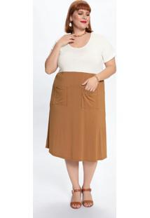 Vestido Plus Size Com Recorte Bicolor E Bolsos