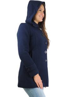 ... Casaco Feminino London Em Lã Com Capuz Removível - Feminino-Azul Escuro fc475dd494df0