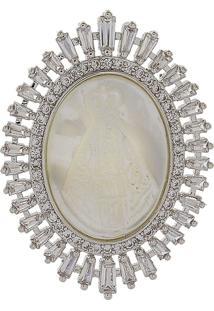 Pingente Narcizza Semijoias Nossa Senhora Aparecida Oval Madrepérola Com Baguetes E Zirc. Cristal Ródio