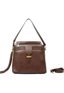 Bolsa De Couro Recuo Fashion Bag Chocolate