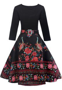 Vestido Pinup Midi Preto Saia Floral Manga