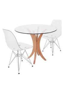 Conjunto Mesa De Jantar Em Vidro 90Cm Com 2 Cadeiras Eiffel Transparentes Metal