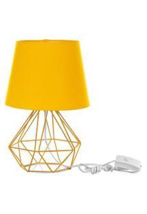 Abajur Diamante Dome Amarelo Com Aramado Amarelo
