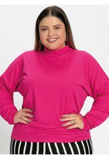 Blusa Gola Alta Pink Plus Size