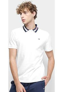 Camisa Polo Tommy Jeans Tipped Collar Polo Masculina - Masculino-Branco