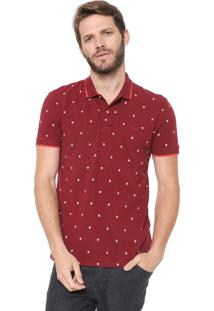 Camisa Polo Colcci Reta Estampada Bordô
