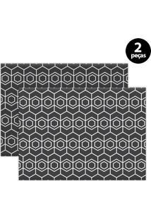 Jogo Americano Mdecore Geométrico 40X28Cm Grafite 2Pçs