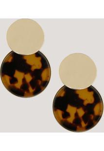 Brinco Feminino Redondo Animal Print Dourado - Único