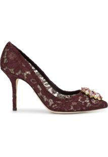 Dolce & Gabbana Scarpin Com Aplicação De Cristais E Salto 90Mm - Vermelho