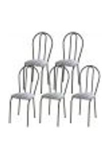 Kit 05 Cadeiras Tubular Cromo Preto 004 Assento Linho