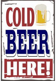 Placa Decorativa Cold Beer L Preta E Branca