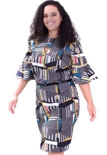 Vestido Geométrico Glória Plus Size Vickttoria Vick Plus Size Preto