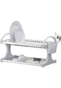 Escorredor Inox 16 Pratos 43X31X8 Cm Branco