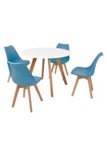 Mesa Inês 100Cm Branca + 4 Cadeiras Leda - Turquesa