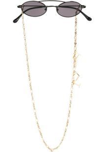 Linda Farrow Linda Farrow X Alessandra Rich Chain Detail Sunglasses - Preto