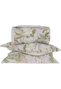 Conjunto De Colcha Panamá Floral Casal- Branco & Verde Cbuddemeyer