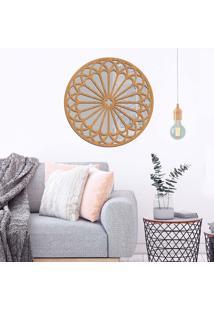 Escultura De Parede Wevans Mandala Formas, Madeira + Espelho Decorativo