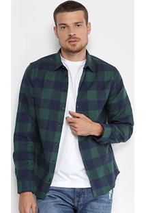 Camisa Xadrez Manga Longa Forum Smart Masculina - Masculino-Azul+Verde