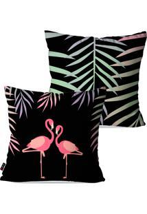 Kit Com 2 Capas Para Almofadas Pump Up Decorativas Preto Flamingos 45X45Cm