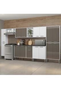 Cozinha Completa Compacta C/ Armã¡Rio E Balcã£O C/ Tampo 7 Pã§S Xangai Blues Multimã³Veis Bca/Lacca Fum㪠- Incolor - Dafiti