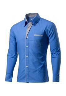 Camisa Masculina Slim Fit Com Detalhes Listrados Manga Longa - Azul
