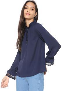 Blusa Lily Fashion Babados Azul-Marinho