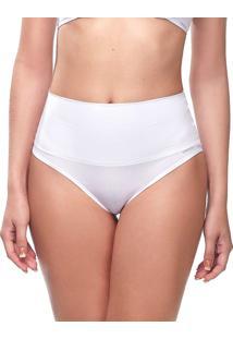 Calcinha Changerie Hot Pant Pala Dupla Cintura Alta Branco 100% Algodão Microfibra