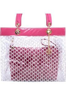 Bolsa Birô Cristal Tela Feminina - Feminino-Pink