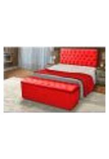 Cabeceira E Calçadeira Baú Casal 140Cm Para Cama Box Sofia Suede Vermelho - Ds Móveis