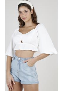 Blusa Feminina Cropped Maquinetada Manga Bufante Decote V Off White