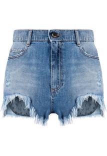 Redvalentino Short Jeans Com Detalhe Point D'Esprit - Azul