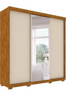 Guarda-Roupa Casal Com Espelho Toronto 3 Pt 6 Gv Nature E Off White