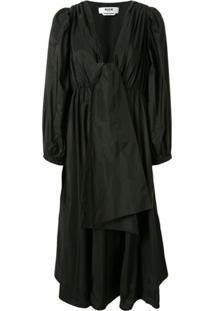 Msgm Vestido Preto Com Aplicação De Laço