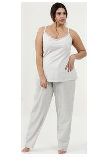 Pijama Feminino Listrado Plus Size Alças Finas Marisa