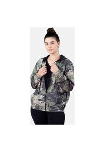 Jaqueta Corta Vento Chess Clothing Feminina Camuflado Exército Verde