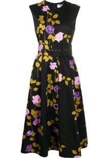 Msgm Vestido Evasê Com Estampa De Rosa - Preto