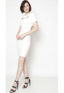Vestido Com Recortes E Pedrarias- Off White- Shirleyshirley Dantas