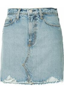 Nobody Denim Piper Distressed Mini Skirt - Azul