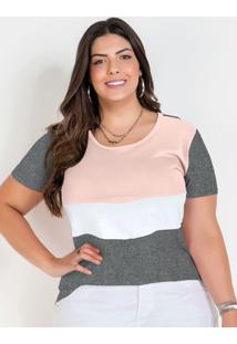 Blusa Mescla Chumbo Tricolor Plus Size