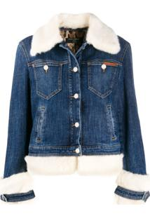 Dolce & Gabbana Faux-Fur Trimmed Denim Jacket - Azul
