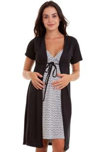 Jogo De Camisola Com Robe Gestante Estampado Feminino Luna Cuore