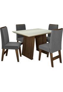 Conjunto De Mesa Para Sala De Jantar Com 4 Cadeiras Vigo -Dobuê Movelaria - Castanho / Branco Off / Grafite Bord