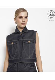 Jaqueta Jeans Com Pespontos - Azulversace