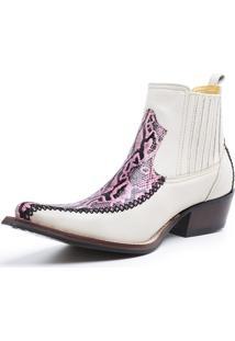 Bota Fidalgo Boots Couro Pyton Rubi Floa Marfim