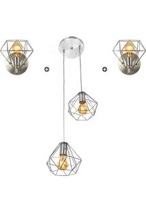 Kit 1 Pendente Duplo + 2 Arandelas Diamante Aramado Cromado