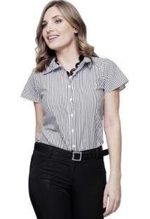 Camisa Sob Manga Curta Listrada Algodão Feminina - Feminino-Preto