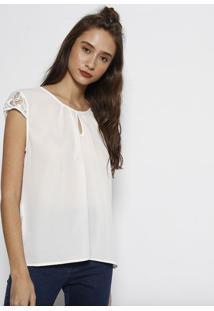 Blusa Lisa Com Bordado- Brancaangel