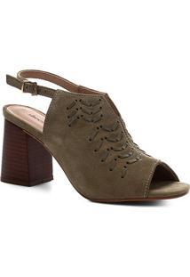 Sandália Shoestock Couro Enfiados Salto Bloco - Feminino-Verde