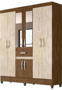 Guarda-Roupa Casal Com Espelho Portugal 8 Pt 1 Gv Castanho Wood E Avelã